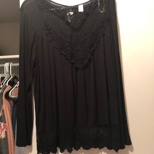 Long sleeve lace front shirt